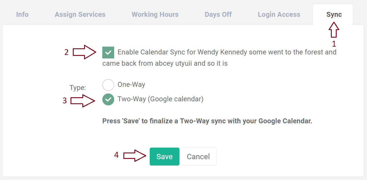 BookSteam Setting up two-way sync with Google calendar